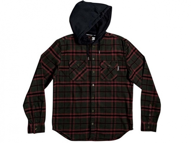 DC Runnels Long Sleeve Hooded Flannel Shirt Dark Olive (detaliu #0)