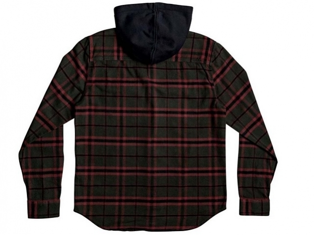 DC Runnels Long Sleeve Hooded Flannel Shirt Dark Olive (detaliu #1)