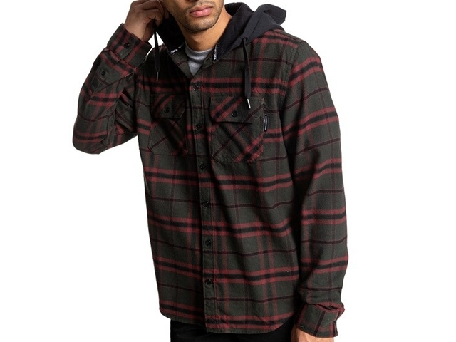 DC Runnels Long Sleeve Hooded Flannel Shirt Dark Olive (detaliu #2)