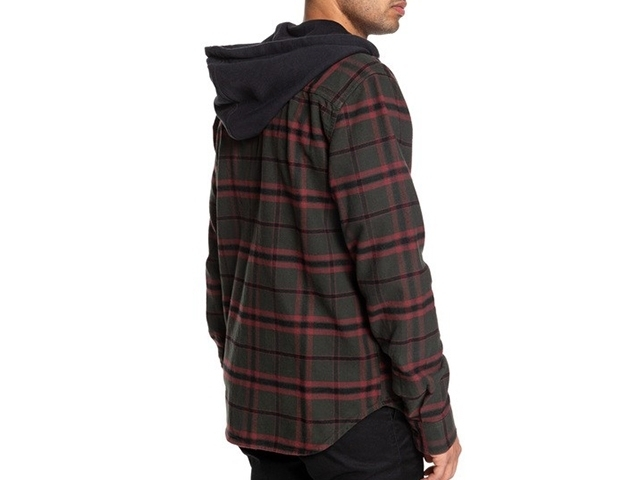 DC Runnels Long Sleeve Hooded Flannel Shirt Dark Olive (detaliu #3)