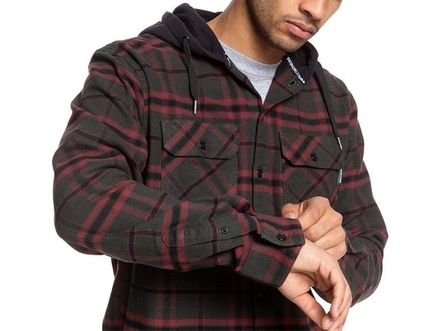 DC Runnels Long Sleeve Hooded Flannel Shirt Dark Olive (detaliu #4)