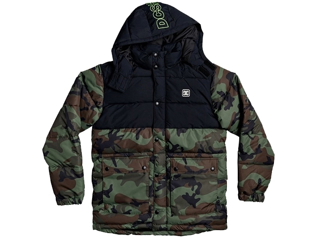 DC Straffen Water-Resistant Hooded Puffer Jacket Camo