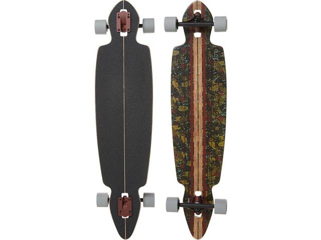 Longboard Globe Pinner Drop Through Brown/leaves 4